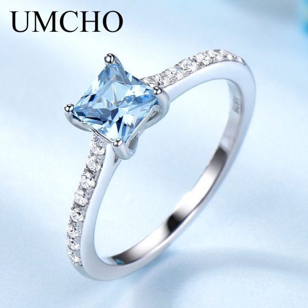 UMCHO Sky Blue Topaz Rings for Women Real Solid 925 Sterling Silver Korean Gemstone Ring Birthstone 1 UMCHO Sky Blue Topaz Rings for Women Real Solid 925 Sterling Silver Korean Gemstone Ring Birthstone Girl Gift Wholesale Jewelry