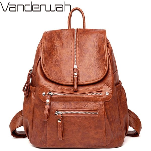 Women Backpack Female High Quality Soft Leather Book School Bags For Teenage Girls Sac A Dos Women Backpack Female High Quality Soft Leather Book School Bags For Teenage Girls Sac A Dos Travel Back pack Rucksacks Mochilas