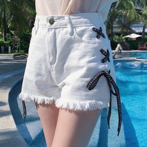 Women Plus Size Dames Jeans Broeken Push up Jeans Fashion Summer Bandage Denim Shorts Pants Tassel Innrech Market.com