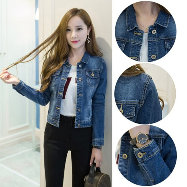 Women Short Jeans Jacket Slim Turn Down Collar Long Sleeve Button Denim Outwear New Chic Vintage 1 Women Short Jeans Jacket Slim Turn Down Collar Long Sleeve Button Denim Outwear New Chic Vintage