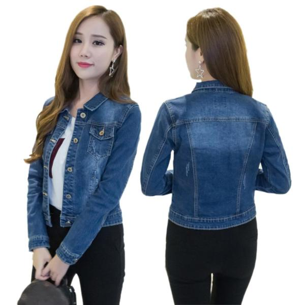 Women Short Jeans Jacket Slim Turn Down Collar Long Sleeve Button Denim Outwear New Chic Vintage Women Short Jeans Jacket Slim Turn Down Collar Long Sleeve Button Denim Outwear New Chic Vintage