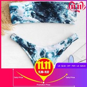 ZAFUL Abstract Bandeau Bikini Set Women Sexy Padded Swimsuit Beach Bathing Suit Brazilian Swimwear Biquinis Maillot Innrech Market.com
