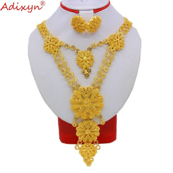 Adixyn Big Size lUXURY India Pliability Necklace Earrings Jewelry Sets For Women Gold Color Ethiopian Engagement Adixyn Big Size lUXURY India Pliability Necklace/Earrings Jewelry Sets For Women Gold Color Ethiopian Engagement Gifts N09166