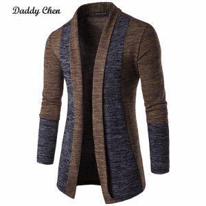 Casual Men Jacket Coat Patchwork Long Sleeve Men Trench Autumn Cotton Homme Fashion Gray Open Stitch Innrech Market.com
