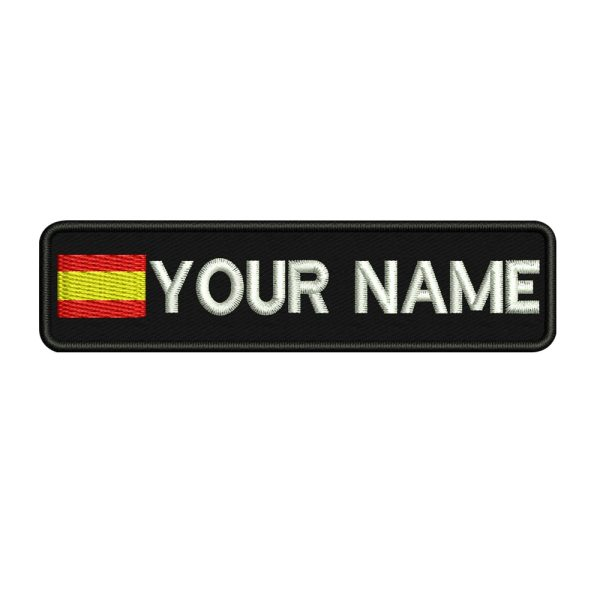 Custom SPAIN name patches tags personalized iron on hook backing Custom SPAIN name patches tags personalized iron on hook backing