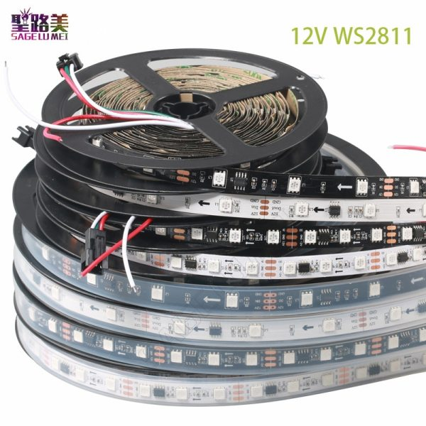 DC12V 5M WS2811 LED pixel strip light Rgb Full color 5050 Led strip ribbon flexible Addressable DC12V 5M WS2811 LED pixel strip light Rgb Full color 5050 Led strip ribbon flexible Addressable Digital LED tape 1 Ic Control 3