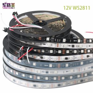 DC12V 5M WS2811 LED pixel strip light Rgb Full color 5050 Led strip ribbon flexible Addressable Innrech Market.com