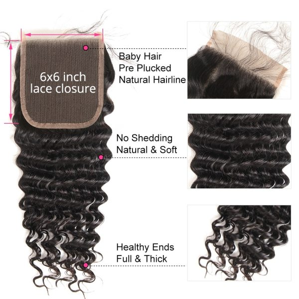 Deep Wave Human Hair Bundles With Closure 6x6 Free Part Pre Plucked Brazilian Bundles With Closure 3 Deep Wave Human Hair Bundles With Closure 6x6 Free Part Pre Plucked Brazilian Bundles With Closure Remy Hair Extension AliPearl