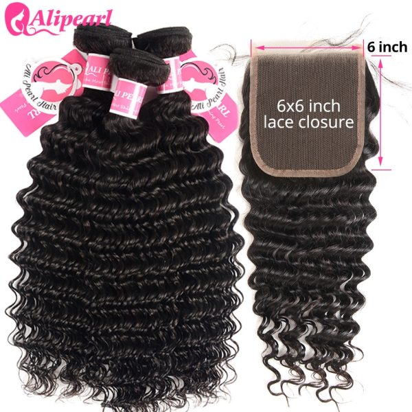Deep Wave Human Hair Bundles With Closure 6x6 Free Part Pre Plucked Brazilian Bundles With Closure 4 Deep Wave Human Hair Bundles With Closure 6x6 Free Part Pre Plucked Brazilian Bundles With Closure Remy Hair Extension AliPearl
