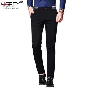 NIGRITY Mens Casual Pant Male Business Trousers Classic Dress Pant Straight Full Length Fashion Pant Blue Innrech Market.com