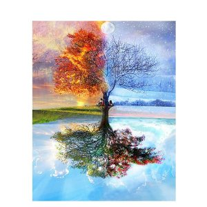Painting By Numbers DIY Dropshipping 50x65 60x75cm Magical Four Seasons Tree Scenery Canvas Wedding Decoration Art Innrech Market.com