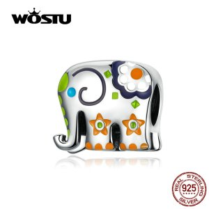 WOSTU Colorful Happy Elephant Beads Genuine 925 Sterling Silver Charms Fit Original Bracelet Pendant Jewelry Gift Innrech Market.com