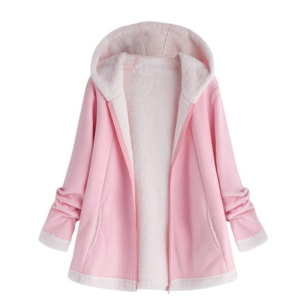 women s autumn jacket Winter warm solid Plush Hoodie Coat Fashion Pocket Zipper Long Sleeves outwear 2 women's autumn jacket Winter warm solid Plush Hoodie Coat Fashion Pocket Zipper Long Sleeves outwear manteau femme plus size 5XL