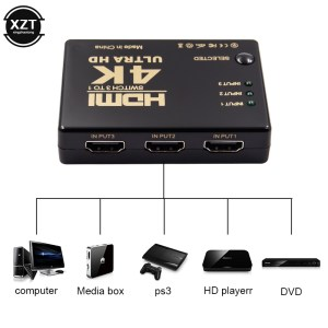 1PCS 3 Port 4K 2K 1080P Switcher HDMI Switch Selector 3x1 Splitter Box Ultra HD for Innrech Market.com