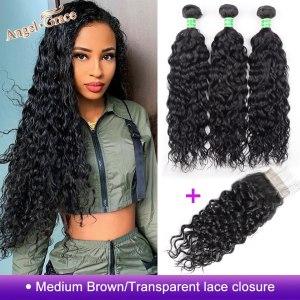 AngelGrace Hair Water Wave Bundles With Closure Remy Human Hair 3 Bundles With Closure Brazilian Hair Innrech Market.com