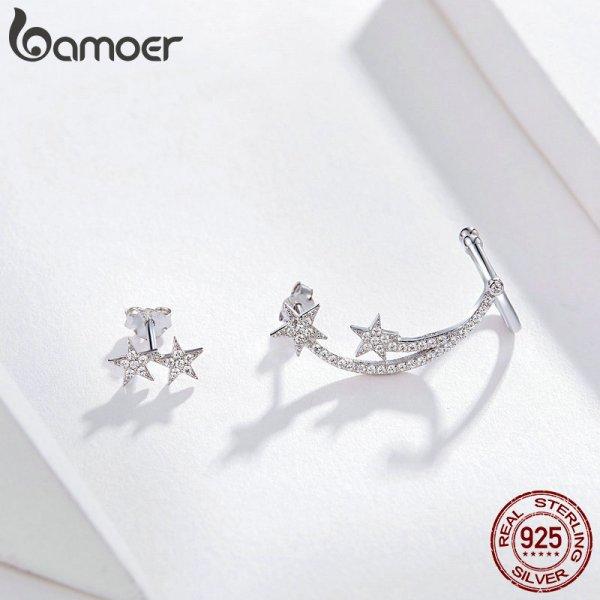 BAMOER Star Comet Asymmetry Stud Earrings for Women Clear CZ Bright Meteor Ear Stud 925 Sterling 1 BAMOER Star Comet Asymmetry Stud Earrings for Women Clear CZ Bright Meteor Ear Stud 925 Sterling Silver Jewelry Femme BSE087