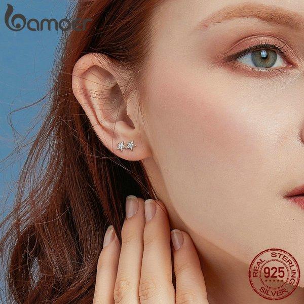 BAMOER Star Comet Asymmetry Stud Earrings for Women Clear CZ Bright Meteor Ear Stud 925 Sterling 4 BAMOER Star Comet Asymmetry Stud Earrings for Women Clear CZ Bright Meteor Ear Stud 925 Sterling Silver Jewelry Femme BSE087