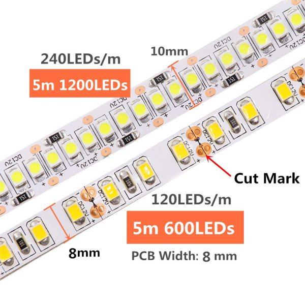 LED Strip 2835 SMD 240LEDs m 5M 300 600 1200 Leds DC12V High Bright Flexible LED 4 LED Strip 2835 SMD 240LEDs/m 5M 300/600/1200 Leds DC12V High Bright Flexible LED Rope Ribbon Tape Light Warm White / Cold White