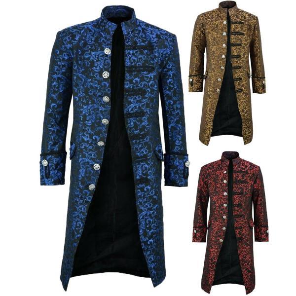 New Men s Vintage Tailcoat Jacket Gothic Steampunk Long Sleeve Jacket Victorian Dress Jacket Halloween Casual New Men's Vintage Tailcoat Jacket Gothic Steampunk Long Sleeve Jacket Victorian Dress Jacket Halloween Casual Button Clothing