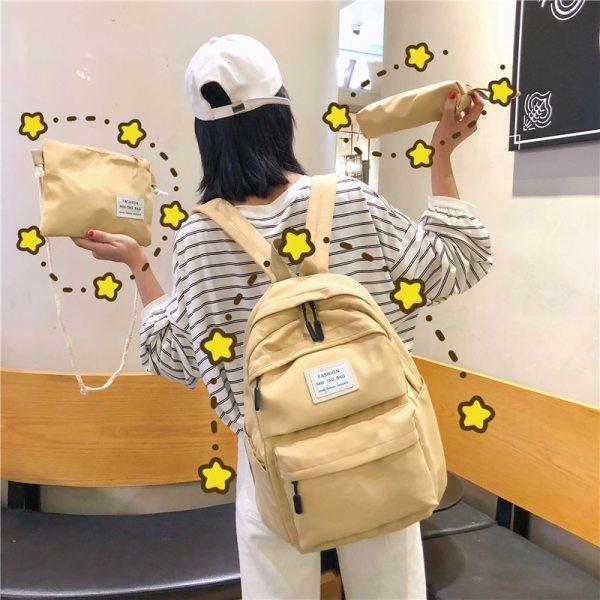 Nylon Backpack Women Backpack Solid Color Travel Bag Large Shoulder Bag For Teenage Girl Student School Nylon Backpack Women Backpack Solid Color Travel Bag Large Shoulder Bag For Teenage Girl Student School Bag Bagpack Rucksack