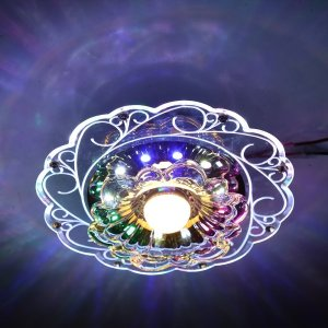 Practical 3W LED Crystal Lotus Ceiling Light Flush Lamp Main Warm Light Auxiliary Colorful Light Indoor Innrech Market.com