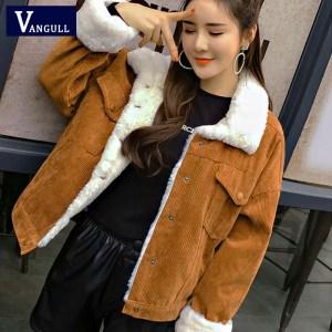 VANGULL Women Winter Jacket Thick Fur Lined Coats Parkas Fashion Faux Fur Lining Corduroy Bomber Jackets Innrech Market.com