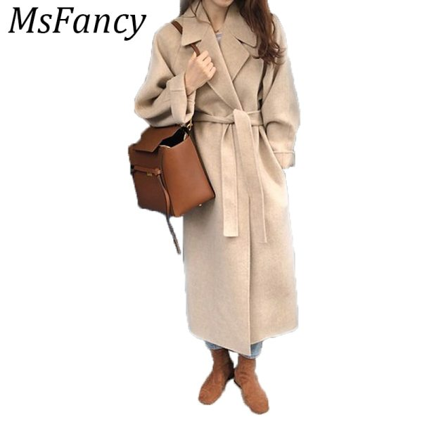 Winter Fashion Coats Women Wool blend Coat Lazy Oaf Long Chunky Warm Coat Western Style Fitted Winter Fashion Coats Women Wool-blend Coat Lazy Oaf Long Chunky Warm Coat Western Style Fitted Waist Lace-up  Loose Coat