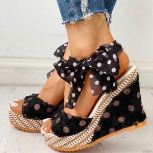 Women Sandals Dot Bowknot Design Platform Wedge Female Casual High Increas Shoes Ladies Fashion Ankle Strap Innrech Market.com