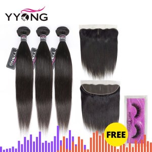 YYong Hair 3 Bundles Brazilian Straight Hair Bundles With Closure Pre Plucked 13 4 Ear To Innrech Market.com