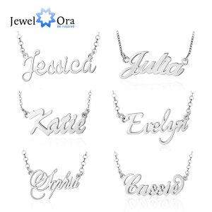 925 Sterling Silver Personalized Nameplate Letter Necklace Custom Made Name Pendant Russian Name Christmas Gifts for Innrech Market.com