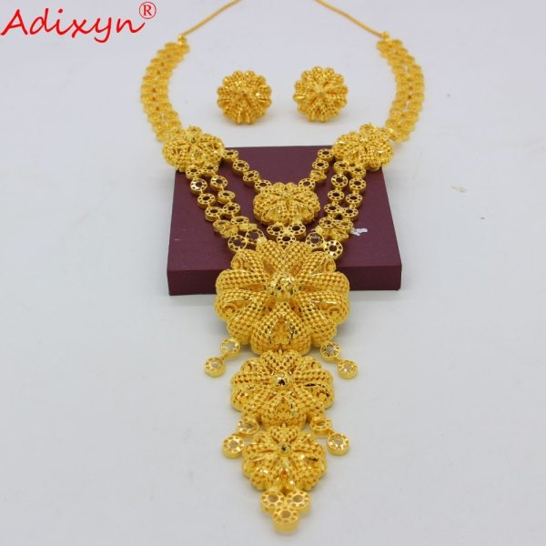 Adixyn Big Size lUXURY India Pliability Necklace Earrings Jewelry Sets For Women Gold Color Ethiopian Engagement 1 Adixyn Big Size lUXURY India Pliability Necklace/Earrings Jewelry Sets For Women Gold Color Ethiopian Engagement Gifts N09166