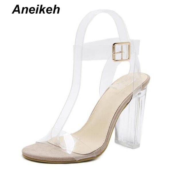 Aneikeh 2020 PVC Jelly Sandals Crystal Open Toed High Heels Women Transparent Heel Sandals Slippers Pumps 2 Aneikeh 2020 PVC Jelly Sandals Crystal Open Toed High Heels Women Transparent Heel Sandals Slippers Pumps 11CM Big Size 41 42