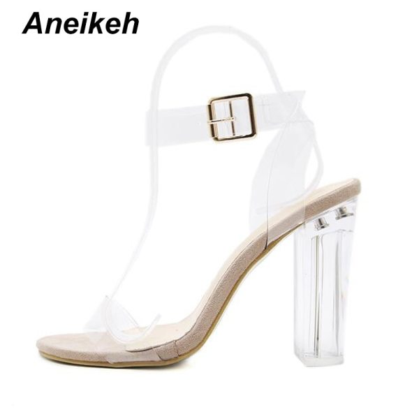 Aneikeh 2020 PVC Jelly Sandals Crystal Open Toed High Heels Women Transparent Heel Sandals Slippers Pumps 3 Aneikeh 2020 PVC Jelly Sandals Crystal Open Toed High Heels Women Transparent Heel Sandals Slippers Pumps 11CM Big Size 41 42