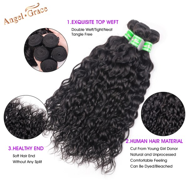 AngelGrace Hair Water Wave Bundles With Closure Remy Human Hair 3 Bundles With Closure Brazilian Hair 1 AngelGrace Hair Water Wave Bundles With Closure Remy Human Hair 3 Bundles With Closure Brazilian Hair Weave Bundles With Closure