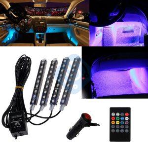 Auto Interni RGB Color 9 LED Strip Light Kit Wireless Music Control Automatic Controller 7 color Innrech Market.com