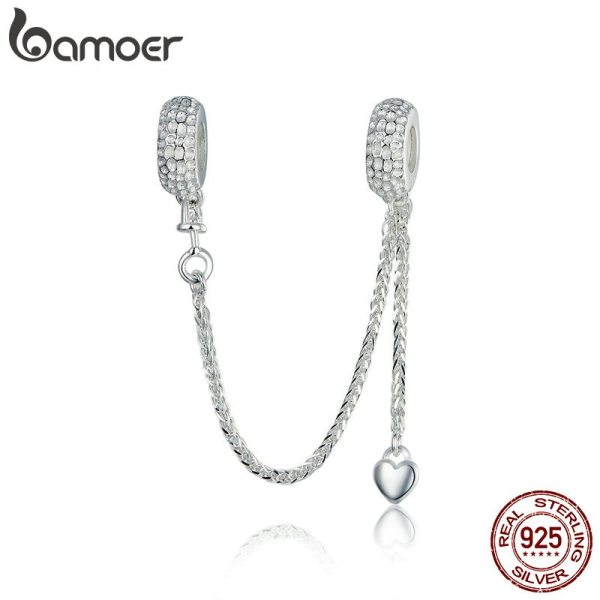 BAMOER Hot Sale 925 Sterling Silver Love Heart Safety Chain Charms Stopper Pendant fit Women Bracelets BAMOER Hot Sale 925 Sterling Silver Love Heart Safety Chain Charms Stopper Pendant fit Women Bracelets DIY Jewelry SCC1112