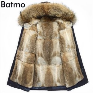 Batmo 2019 new arrival winter high quality warm rabbit fur liner hooded jacket men raccoon fur Innrech Market.com