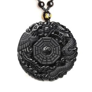 Black Obsidian Carving Dragon and Phoenix Necklace Pendant Obsidian Lucky Pendants Innrech Market.com