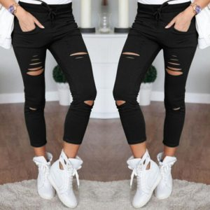 Casual Skinny Jeans Women Stretch Hole Slim Fit Denim Leggings Pencil Pants High Waist Trousers Army Innrech Market.com