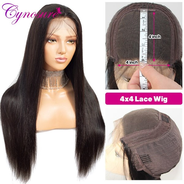 Cynosure 4x4 Straight Lace Closure Wig Brazilian Lace Closure Human Hair Wigs Pre Plucked with Baby Cynosure 4x4 Straight Lace Closure Wig Brazilian Lace Closure Human Hair Wigs Pre-Plucked with Baby Hair Remy