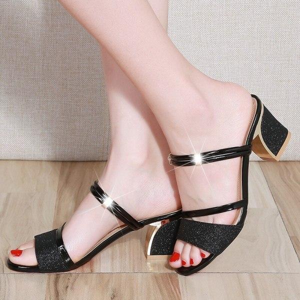 High Heel Sandals Women Shoes Peep toe Square Heels Ladies Sandals 2019 Summer Shoes Woman Fashion 3 High Heel Sandals Women Shoes Peep toe Square Heels Ladies Sandals 2019 Summer Shoes Woman Fashion Heel 6cm A645