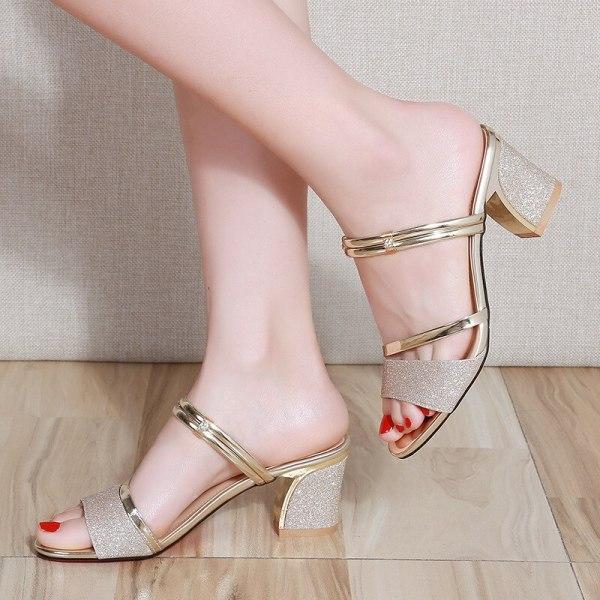 High Heel Sandals Women Shoes Peep toe Square Heels Ladies Sandals 2019 Summer Shoes Woman Fashion 4 High Heel Sandals Women Shoes Peep toe Square Heels Ladies Sandals 2019 Summer Shoes Woman Fashion Heel 6cm A645