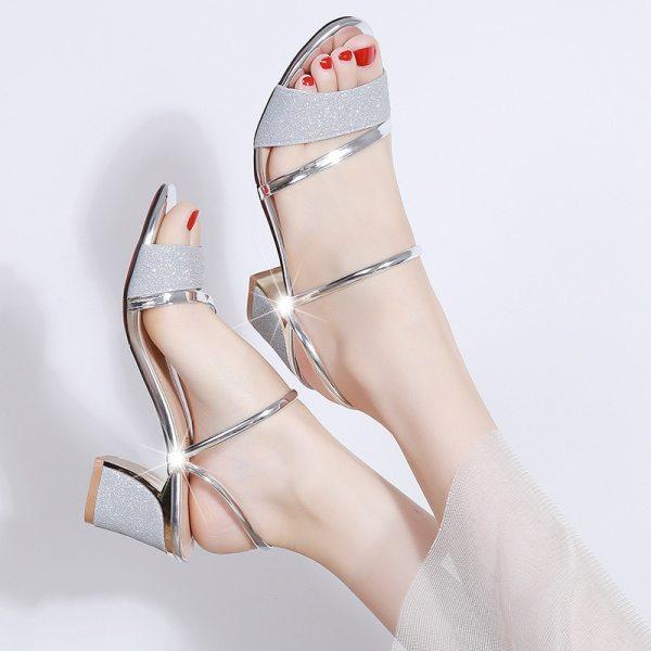 High Heel Sandals Women Shoes Peep toe Square Heels Ladies Sandals 2019 Summer Shoes Woman Fashion 5 High Heel Sandals Women Shoes Peep toe Square Heels Ladies Sandals 2019 Summer Shoes Woman Fashion Heel 6cm A645