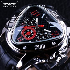 Jaragar Sport Racing Design Geometric Triangle Pilot Genuine Leather Men Mechanical Watch Top Brand Luxury Automatic Innrech Market.com