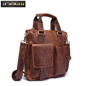 Men Original Leather Retro Designer Business Briefcase Casual 12 Laptop Travel Bag Tote Attache Messenger Bag Innrech Market.com