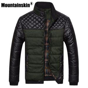 Mountainskin Brand Men s Jackets and Coats 4XL PU Patchwork Designer Jackets Men Outerwear Winter Fashion Innrech Market.com