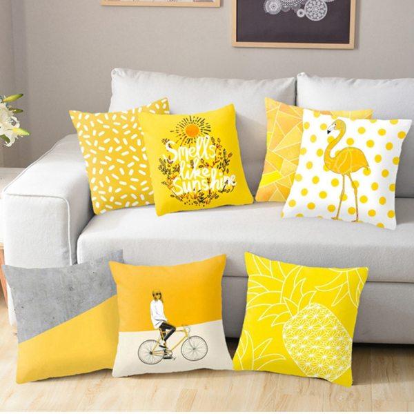 Polyester Geometric Cushion Yellow Pineapple Pillow Decorative Cushion for Sofa DIY Printed Pillow Seat Chair Cushion Polyester Geometric Cushion Yellow Pineapple Pillow Decorative Cushion for Sofa DIY Printed Pillow Seat Chair Cushion