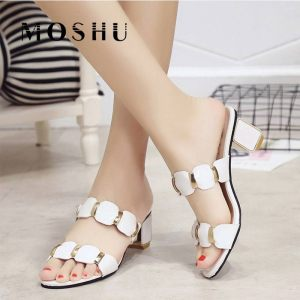 Sandals Women High Heels Female Square Heels Sandalia Feminina Ladies Pump Shoes Party Wedding Peep Toe Innrech Market.com