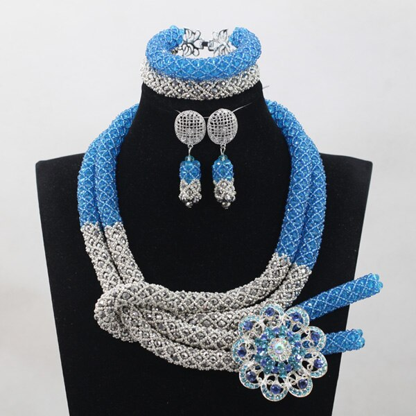 Sky Blue Silver African Chunky Beads Jewelry Sets Fashion Nigerian Wedding Jewelry Sets Women New Free 5 Sky Blue Silver African Chunky Beads Jewelry Sets Fashion Nigerian Wedding Jewelry Sets Women New Free Shipping WD924