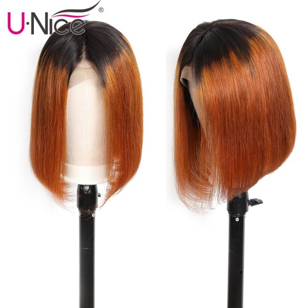 Unice Hair 13 4 Straight Bob Ombre T1B30 Human Hair Wigs 8 14 Inch Pre Plucked 1 Unice Hair 13*4 Straight Bob Ombre T1B30 Human Hair Wigs 8-14 Inch Pre Plucked Remy Hair Lace Front Wig